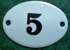 Russia USSR Soviet Apartment Flat Door Hot Enamel Number Sign 1960s no.5 UNUSED