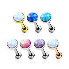 Surgical Steel Opal Set Gem Tragus Cartilage Bar Piercing Earring