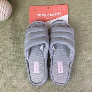Women's Easy Spirit Slippers Gray Open Toes Slip On Size XL 9 1/2-10 1/2 M NWOB
