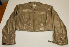 Womens bebe Full Zip Jacket Size Small Gold Faux Leather