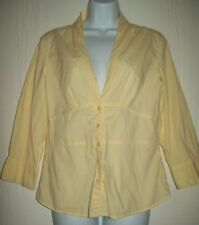 Quizz Womens Top Size Large Yellow 3/4 Sleeve Blouse Career Spring Summer