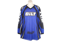 BILT Mens Mesh Racing Motocross Jersey Sz Large White Black Blue