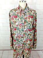 Vtg Silk Floral Blouse M