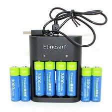 8pcs Etinesan 1.5v 3000mWh rechargeable Lithium Polymer AA battery + USB Charger