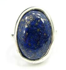 925 Sterling Silver Handmade Blue Lapis Lazuli Stone Ring Size 6.50 US - 1019