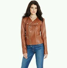NWT Guess by Marciano brown Pruitt 100% Lamb Leather Moto stitching Jacket Sz S