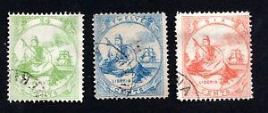 Liberia 1866-69 set of stamps Mi#7-9 used CV=150€