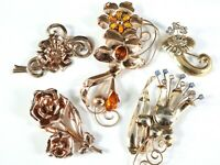 Vintage Lot Estate Jewelry Flower Brooch Pin Solid 925 Sterling Silver Rose Gold