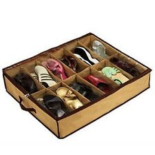 Hot 12Cases Shoes Storage Organizer Shoes Holder Bag Box Under Bed Closet Brown