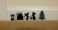 CHRISTMAS MOUSE HOLE Wall Art Sticker Vinyl Decal Mice Home Skirting Board Funny