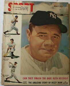 May 1948 Sport Magazine Babe Ruth New York Yankees Cover Dizzy Dean