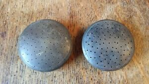 TWO ANTIQUE / VINTAGE SOLID BRASS SHOWER HEAD / ROSE - GOOD UNCLEANED CONDITION