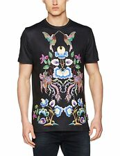 Jaded London Men's Mirrored Floral Bird Print T-Shirt Small New With Tags