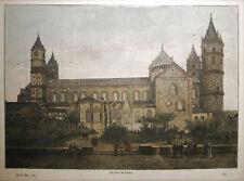 WORMS Dom. Handkolorierter orig. Holzstich 1888