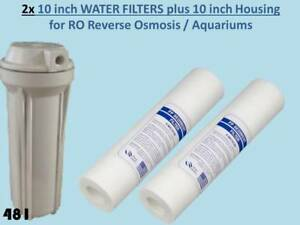"""10"""" Housing & 2x 5 micron Sediment Filters for RO Reverse Osmosis /Aquariums 481"""