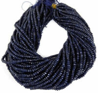 "5 Strand Lapis Lazuli Chalcedony Gemstone Faceted Rondelle Beads 4-4.5mm 13""Inch"