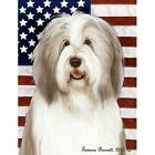 Patriotic (D2) Garden Flag - Fawn and White Bearded Collie 324831