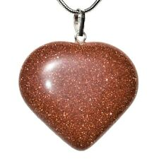 CHARGED Red Goldstone Crystal Heart Pendant + Selenite Heart & Chain