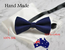 MENS NAVY BLUE COTTON BOW TIE POCKET SQUARE WHITE 100% SILK Hanky Handkerchief