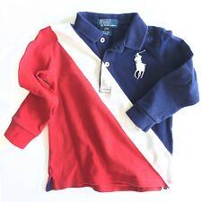 Ralph Lauren Polo Baby Boys Cotton Big Pony Polo, Red/Navy, 24 Months - EUC!