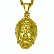 Buda Face Stainless Steel Gold Charm and Chain Hiphop Jewlry