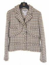 CHANEL classic tweed boucle jacket brown silver white jacket 44