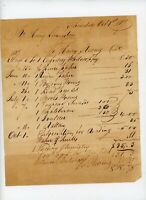1817 Antique Handwritten Ledger Page statement  Wm Henry Livingston Columbia NY
