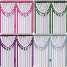 2 VALANCE SWAG WATERFALL UNLINED FOAM LINED WINDOW DECOR 2-TONE SWAG TOPPER AMY