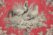 Antique French country  ROOSTER fabric red + gray chicken block printed