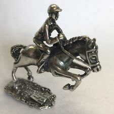 Vintage Antique Style Solid Silver Miniature Jockey On Galloping Racehorse 5cm