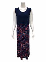 Cuddl Duds Women's Sleeveless Flex-wear Maxi Dress Navy/Floral Medium Size