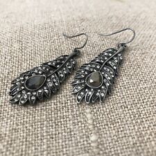 Gunmetal Pave Feather Retro Vintage Style Charcoal Dangle Earrings