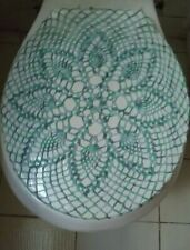 Handmade Crochet Toilet Lid/Seat Cover (Green, Light/Dark Blue) Sparkles