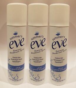 Pack of 3 Summer's Eve Ultra 2oz Feminine Deodorant Spray