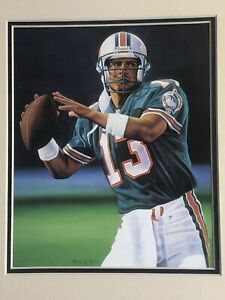 1995 Dan Marino Miami Dolphins Matted Kelly Russell Lithograph Art Print #358