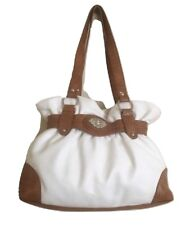 Bueno Purse White Faux Leather Ruffle Top Shoulder Bucket Bag