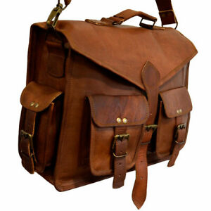 Men's Genuine Brown Leather Vintage Messenger Shoulder Laptop Briefcase Bag