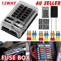 Fuse Box Block 12 Way 12V Car Auto Marine Blade Holder LED Light Circuit Tester
