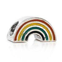 Silver rainbow charm gift pd bracelet European rare unicorn bead beads charms UK