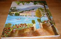 LAKE COMO ITALY  NAUTICAL COAST SEA OCEAN VILLAGE GARDEN CHURCH OIL PAINTING