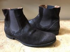 John Varvatos Brown Suede Distressed Ankle Boots Size 10.5