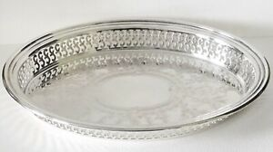Vintage ONEIDA Silversmiths Small Oval SilverPlate Gallery Edge Butlers Tray USA