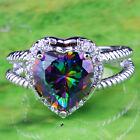 Twinkling Rainbow & White Topaz Gemstones Silver Rings Size 6 7 8 9 10 11 12 13