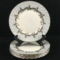 Set of 5 VTG Bread Plates EB Foley Silver Fern Platinum Trim Laurel England