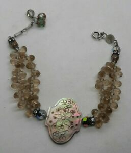 Lori Frantz Koenig Sterling Silver Carved MOP Floral Bracelet Mother Of Pearl