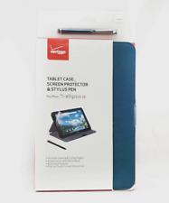 Verizon Folio Tablet Case - Screen Protector - Stylus Pen for Ellipsis 10 BLUE