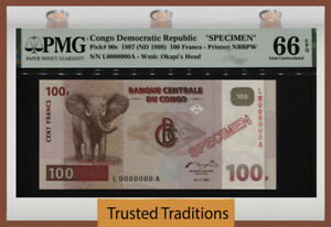 TT PK 90s 1997 CONGO DEMOCRATIC REPUBLIC 100 FRANCS SPECIMEN PMG 66 EPQ GEM