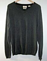 Weatherproof Vintage Mens L Cotton Cashmere Classic V-Neck Sweater Charcoal Gray