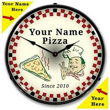 ADD YOUR NAME ~ Personalized Pizza Parlor LED Lighted Wall Clock ~ Made in USA ~