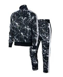 Nike Sportswear Men's Black Printed Track Jacket & Jogger Pant 2 Piece Set